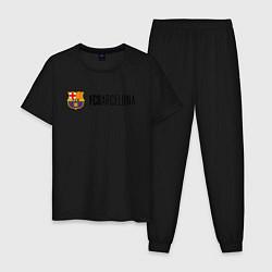 Пижама хлопковая мужская Barcelona FC цвета черный — фото 1