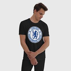 Пижама хлопковая мужская Chelsea FC цвета черный — фото 2