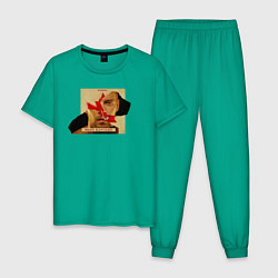 Пижама хлопковая мужская Макс Барских: Вспоминать цвета зеленый — фото 1