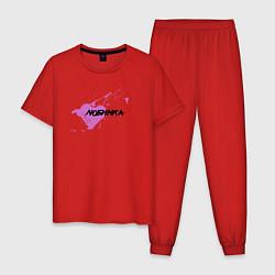 Пижама хлопковая мужская Любимка цвета красный — фото 1