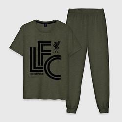 Пижама хлопковая мужская Liverpool FC цвета меланж-хаки — фото 1