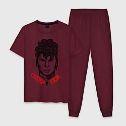 Пижама хлопковая мужская Сектор Газа цвета меланж-бордовый — фото 1