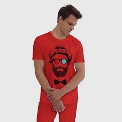 Пижама хлопковая мужская Хипстер цвета красный — фото 2
