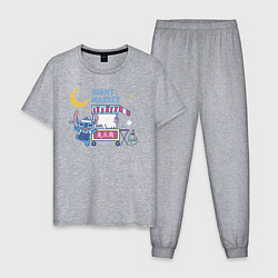 Пижама хлопковая мужская Стич цвета меланж — фото 1