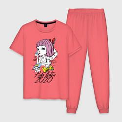 Пижама хлопковая мужская Криминальное чтиво 2020 цвета коралловый — фото 1