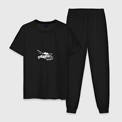 Пижама хлопковая мужская Т-34 цвета черный — фото 1