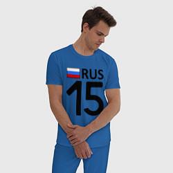 Пижама хлопковая мужская RUS 15 цвета синий — фото 2