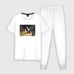 Пижама хлопковая мужская Белоснежка поёт цвета белый — фото 1