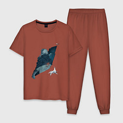 Пижама хлопковая мужская Бегущий по лезвию цвета кирпичный — фото 1
