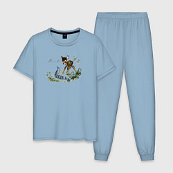 Пижама хлопковая мужская Bambi цвета мягкое небо — фото 1