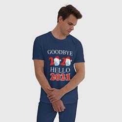 Пижама хлопковая мужская Goodbye 2020 hello 2021 цвета тёмно-синий — фото 2