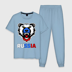 Пижама хлопковая мужская Русский медведь цвета мягкое небо — фото 1