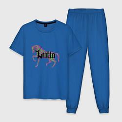 Пижама хлопковая мужская Фиолетовая лошадь цвета синий — фото 1