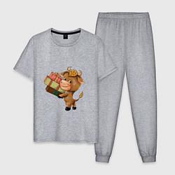 Пижама хлопковая мужская Символ года 2021 бык цвета меланж — фото 1