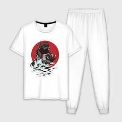 Пижама хлопковая мужская Годзилла цвета белый — фото 1