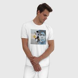 Пижама хлопковая мужская Марадона великий футболист цвета белый — фото 2