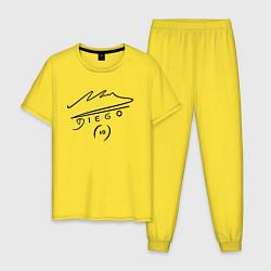 Пижама хлопковая мужская Diego Maradona Автограф цвета желтый — фото 1