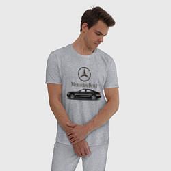 Пижама хлопковая мужская Mersedes-Benz цвета меланж — фото 2