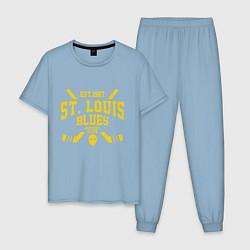 Пижама хлопковая мужская Сент-Луис Блюз цвета мягкое небо — фото 1