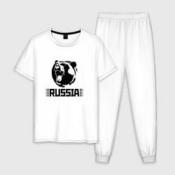 Пижама хлопковая мужская Russia цвета белый — фото 1