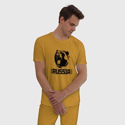 Пижама хлопковая мужская Russia цвета горчичный — фото 2