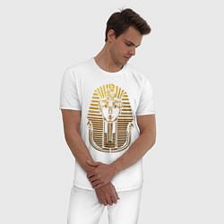 Пижама хлопковая мужская Тутанхамон цвета белый — фото 2