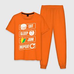 Пижама хлопковая мужская Eat Sleep JDM Repeat цвета оранжевый — фото 1