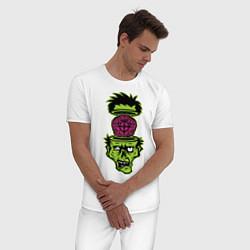 Пижама хлопковая мужская Зомби на прицеле цвета белый — фото 2