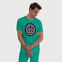 Пижама хлопковая мужская S W O R D цвета зеленый — фото 2