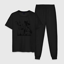 Пижама хлопковая мужская Зайки цвета черный — фото 1