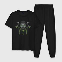 Пижама хлопковая мужская Викинг цвета черный — фото 1
