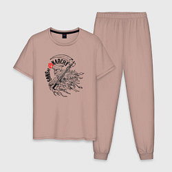 Пижама хлопковая мужская Sons of Anarchy цвета пыльно-розовый — фото 1