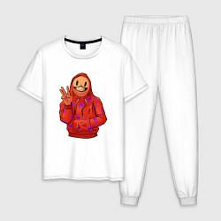 Пижама хлопковая мужская Арт пакман цвета белый — фото 1