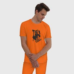 Пижама хлопковая мужская Im not friendly цвета оранжевый — фото 2