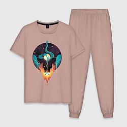 Пижама хлопковая мужская Концепт Жизни - Огонь и Вода цвета пыльно-розовый — фото 1