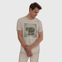 Пижама хлопковая мужская Слоны цвета миндальный — фото 2