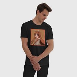 Пижама хлопковая мужская Холо волчица и пряности цвета черный — фото 2