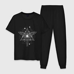 Пижама хлопковая мужская Геометрия астрал и душа цвета черный — фото 1