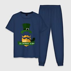Пижама хлопковая мужская Настоящий ирландец цвета тёмно-синий — фото 1