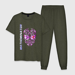 Пижама хлопковая мужская Матеминатор цвета меланж-хаки — фото 1