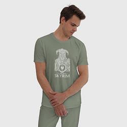Пижама хлопковая мужская Skyrim Скайрим цвета авокадо — фото 2