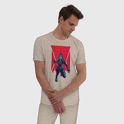 Пижама хлопковая мужская Black Widow цвета миндальный — фото 2
