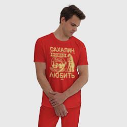 Пижама хлопковая мужская Сахалин можно только любить цвета красный — фото 2