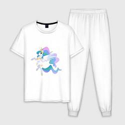 Пижама хлопковая мужская Принцесса Целестия цвета белый — фото 1