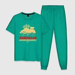 Пижама хлопковая мужская Сахалин - лучшее место планеты цвета зеленый — фото 1