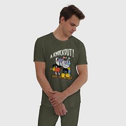 Пижама хлопковая мужская CUPHEAD цвета меланж-хаки — фото 2