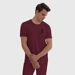 Пижама хлопковая мужская XXXTENTACION LOVE цвета меланж-бордовый — фото 2