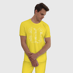 Пижама хлопковая мужская БТС BTS Stay Gold Bangtan Boys цвета желтый — фото 2