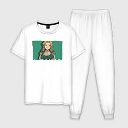 Пижама хлопковая мужская Nikki цвета белый — фото 1