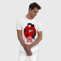Пижама хлопковая мужская Акира цвета белый — фото 2